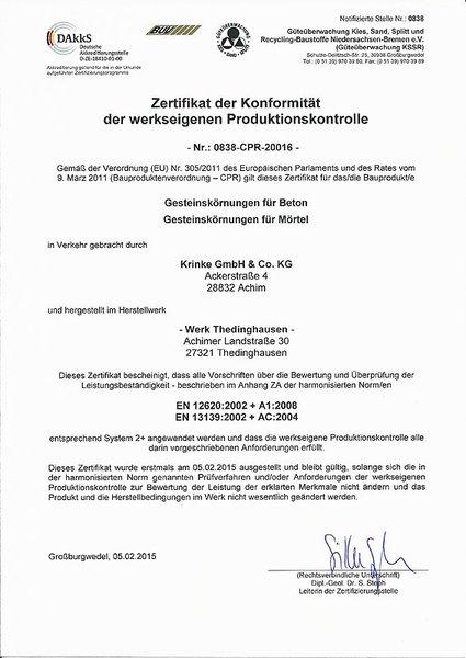 Kieswerke Krinke - Produkt-Zertifikat